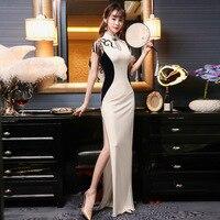 Tassel Long Split Sexy Cheongsam Dress Elastic Velvet Qipao Chinese Traditional Dress Elegant Girl Robe Oriental Style Dresses