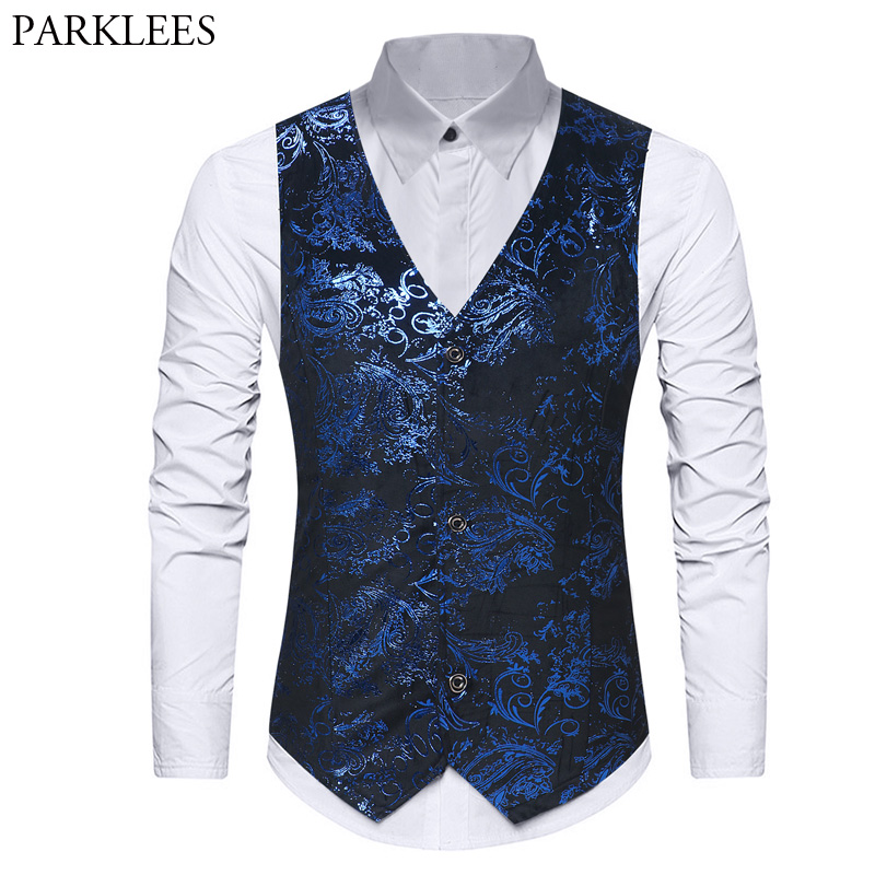 Mens Hipster Paisley Floral Printed Single Breasted Dress Suit Vest 2018 Brand New Business Wedding Tuxedo Waistcoat Gilet Homme