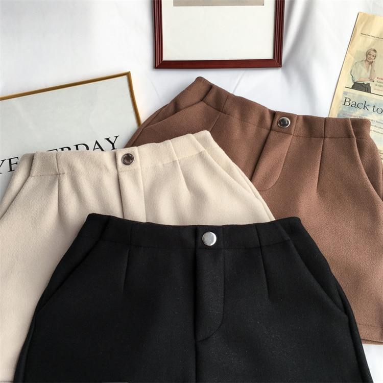 Winter Woolen Shorts Women High Waist Female Loose Thick Warm Elastic Waist Boots Shorts Wide Leg A-line Shorts Korean Fashion 29
