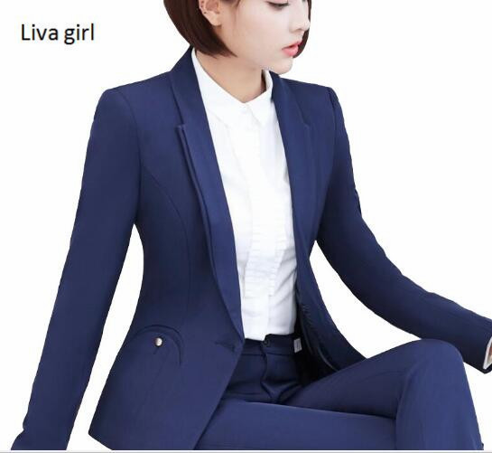3dd593651decb New fashion women pants suit winter elegant formal long sleeve slim  Interview blazer and pants office ladies plus size work wear-in Pant Suits  from Women s ...