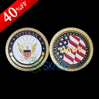 1pcs/lot Fashion crafts medal gift gold plated US flag coins Unite States Navy Veteran challenge coins collectibles