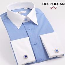 Spring male French White Shirt Mens Long Sleeve Cufflinks business suit slim trend of Korean handsome gentleman