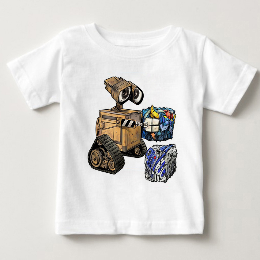 ANIMATION ROBOT CUTE WALL E T-shirt cotton Fashion Brand t shirt kids new high quality summer baby boy t shirt MJ