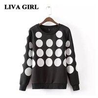 Liva Girl 2017 Sweatshirt For Women Fashion Colored Polka Dot Hoodies For Women Female Elegant Full
