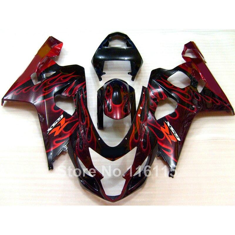 Fairing kit for SUZUKI GSXR 600/750 K4 2004 2005 red flames in black GSXR600 GSXR750 04 05 motorcycle fairings set LF64 игрушка 31 век lf 2005