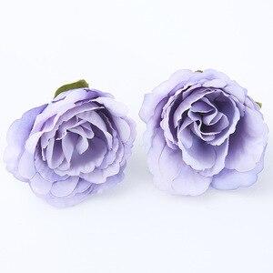 Image 4 - 10 ชิ้น/ล็อตประดิษฐ์ดอกไม้ 4 ซม. ผ้าไหมกุหลาบสำหรับงานแต่งงานตกแต่งบ้าน DIY ดอกไม้ scrapbook craft ปลอมดอกไม้