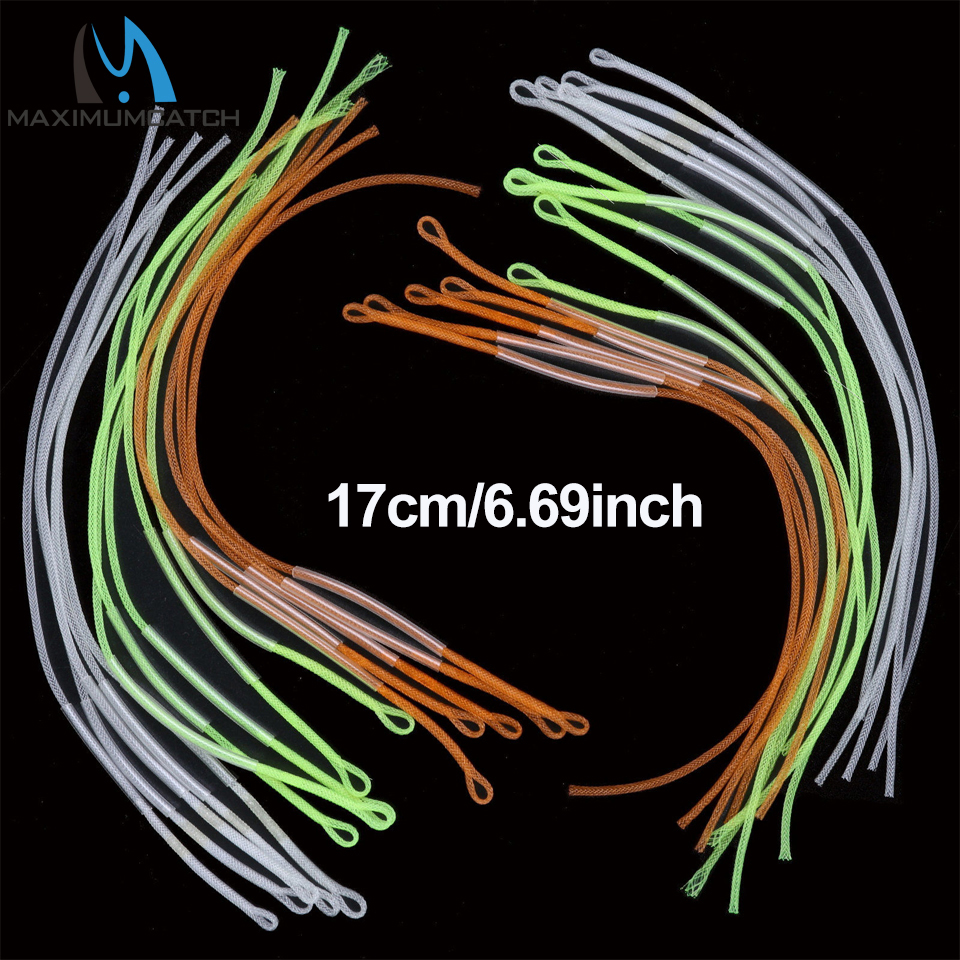 Maxcatch Nylon Flettet Loop Connector 30LB 50LB Leader Loops For Fly Fishing Line 10pc Multi Color