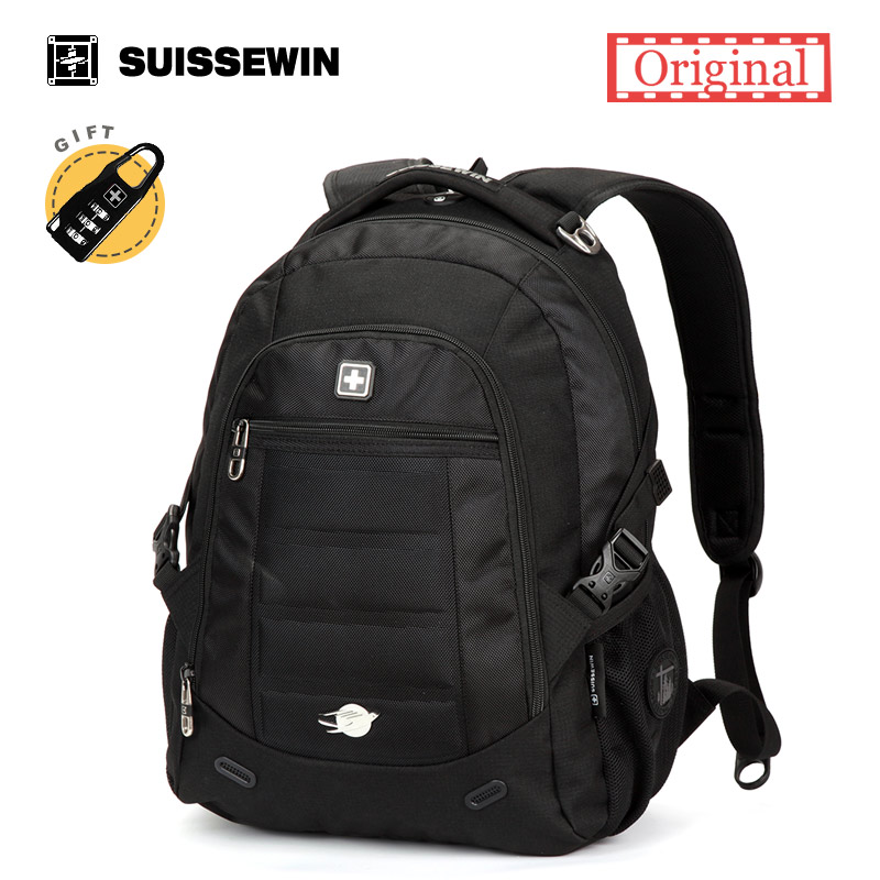 Suissewin Orthopedic Backpack Male Waterproof Laptop Backpack Bag Men's Urban Backpack Boys Black Brown Back Pack Sac A Dos