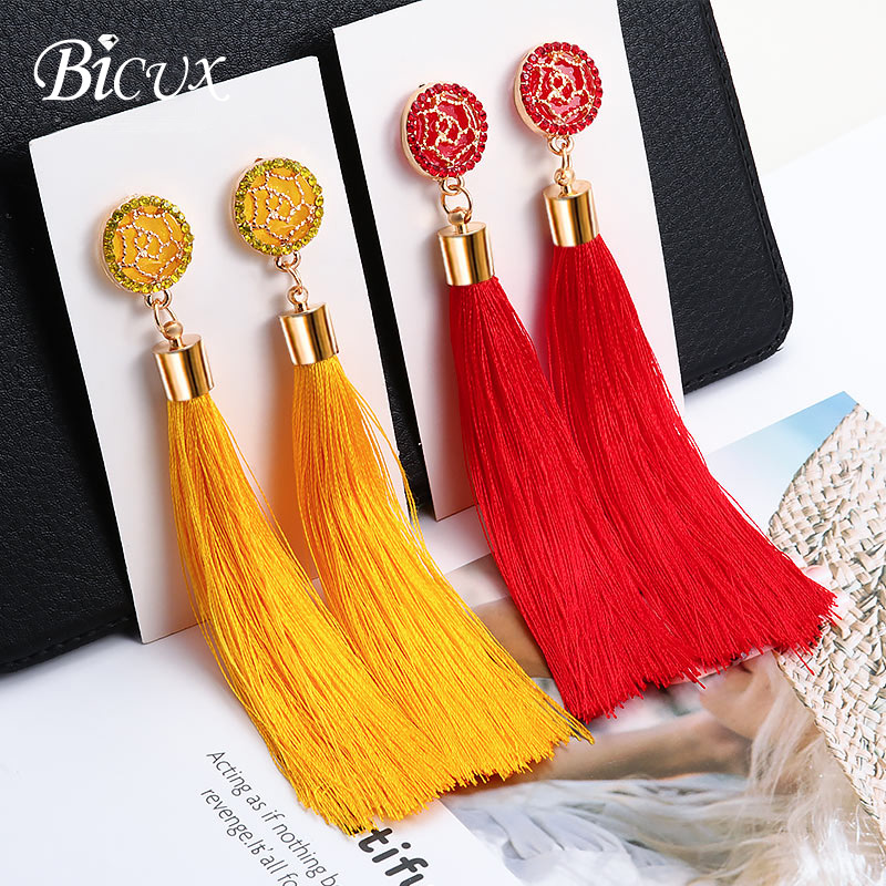 BICUX Fashion Bohemian Tassel Crystal Long Earrings White Red Silk Fabric Drop Dangle Tassel Earrings For Women 2019 Jewelry(China)