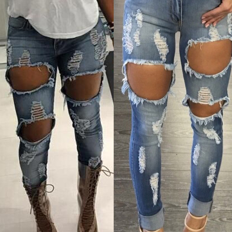 Mid Waisted Cotton Denim Tight Skinny Women Ripped Jeans Big Hole In Knee Washed Elastic Sculpt Butt lifting Tight Pencil Jeans tight denim джинсовые брюки