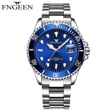 FNGEEN Relogio Masculino Mens Watches Top Brand Luxury Fashion Business Quartz Watch Men Sport Full Steel Waterproof Black Clock