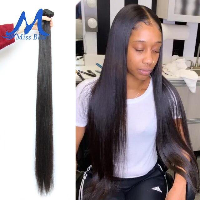 Missblue 8-34 36 38 40 pulgadas pelo brasileño tejido paquetes recto 100% cabello humano 3/4 paquetes de Color Natural extensiones de Cabello Remy