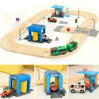 Children's electric train track set building blocks track magnetic car toy boy track toys gas station car wash room scene