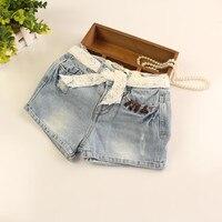 Детские джинсовые шорты для девочек Обувь для девочек летние джинсы детские короткие штаны Кружево ремень Шорты для женщин джинсы в европе...