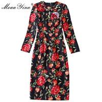 MoaaYina Fashion Designer Runway Dress Autumn Women S Long Sleeve Rose Applique Sicily Midi High Quality