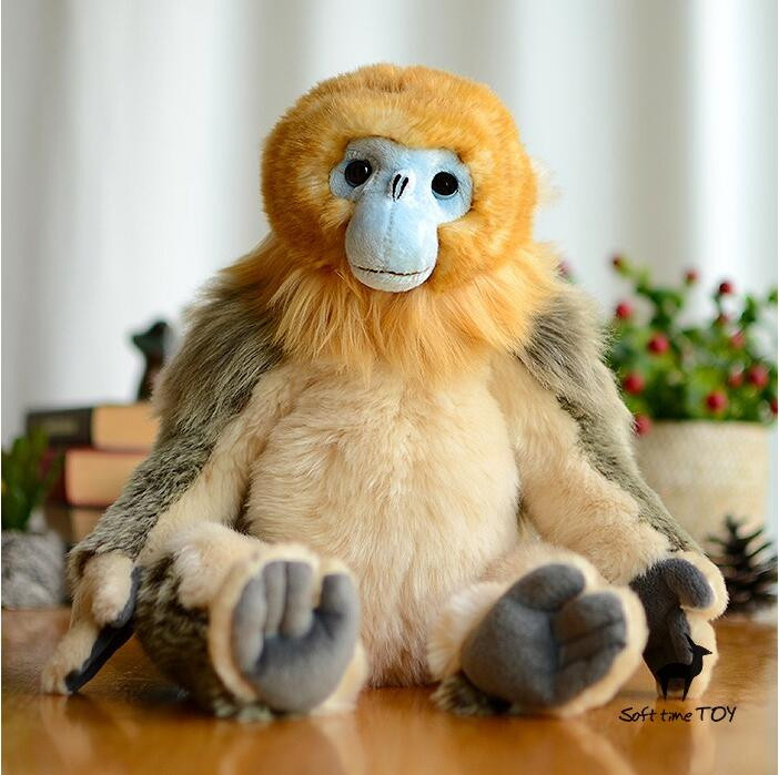 Rare Animals  Big Plush Toy  Children'S Gift  Toys Pillow  Cute Golden Monkey Doll Simulation Stuffed Good Quality 1pcs 18cm cute flower monkey plush toy stuffed animals