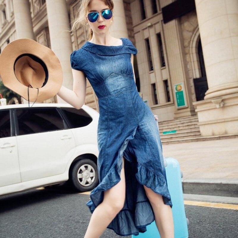 Robe Jeans Automne Rétro Fishtail Feminino Volants Longue 2019 Maxi Blue Femme À Denim Femmes Jean D'été Sirène fBC8Xx