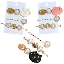 3Pcs Japanese Women Girl Cute Meow Cat Hair Clip Imitation Pearl Beaded Hairpin Golden Tinfoil Sequins Acetate Styling Barrettes