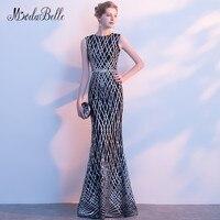 Modabelle Elegant Floor Length Prom Dress With Glitter Sequin Long 2018 Mermaid Style Simple Black Evening