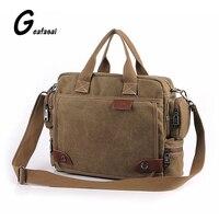 Solid Color Black Khaki Casual Vintage Multifunction Trunk Men S Canvas Travel Crossbody Shoulder Messenger Bag