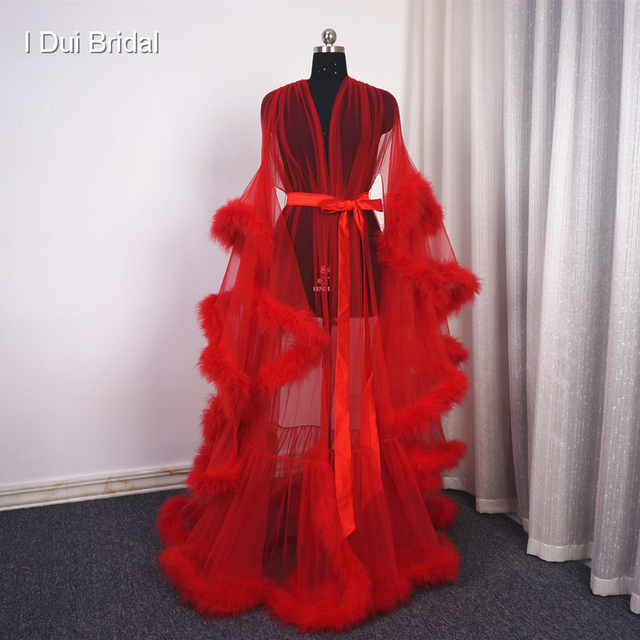 Feather Tulle  Illusion Evening Dress Long Sleeve Robe Scarf Party Gown School Dance Dress
