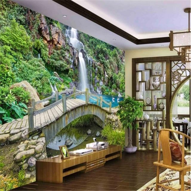 Delicieux Beibehang Large Custom Wallpapers Spring Creek Bridges Waterfalls Landscape  Paintings Backdrop Bedroom Bedroom Living Room