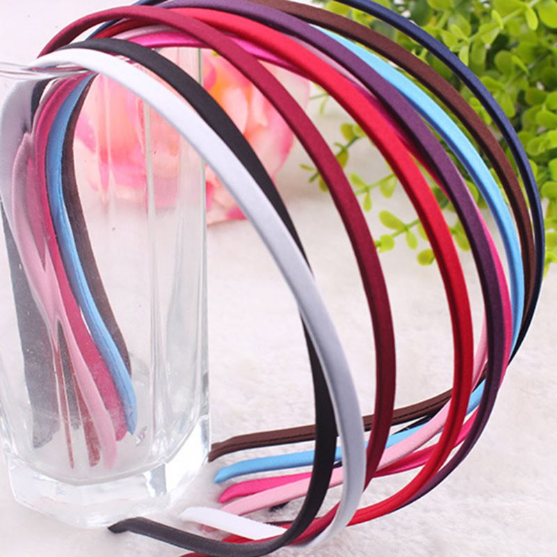 Korean Minimalist 5MM Cloth Covered Headband Women Girl Solid Color Metal Alloy Hair Hoop Thicken DIY Styling Headpiece 10 Color in Women 39 s Hair Accessories from Apparel Accessories
