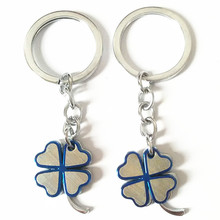 New Fashion Personality Four Leaf Clover Key Chain Bag Key Ring Charming Keychains Couple KeyRing Flash