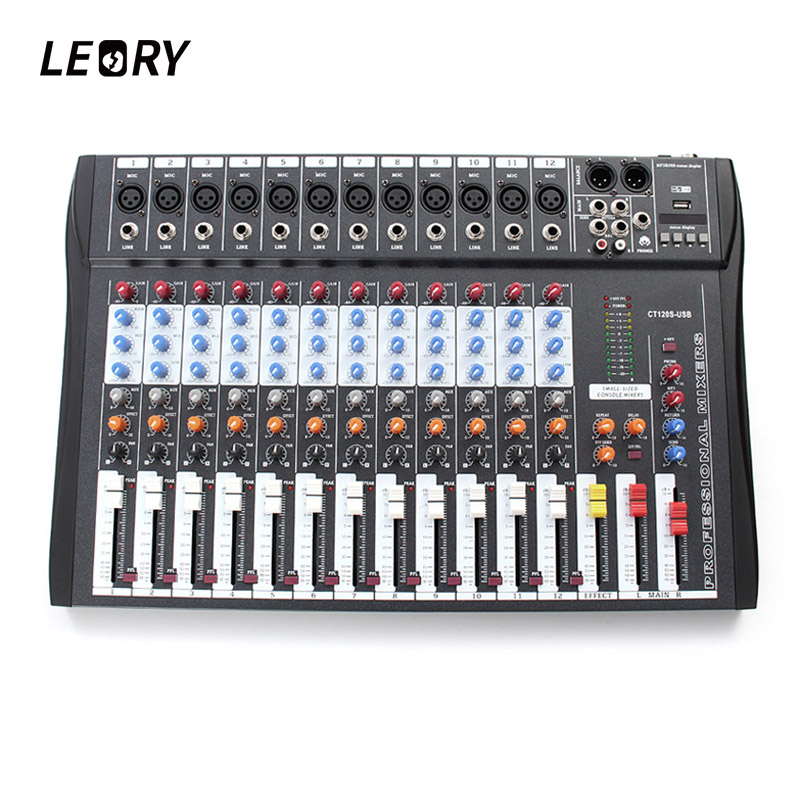 LEORY 12 Channel Karaoke Audio Mixer Professional Microphone Amplifier Sound Console Mixing With USB 48V Phantom Power audio mixer cms1600 3 cms compact mixing system professional live mixer with concert sound performance digital 24 48 bit effects