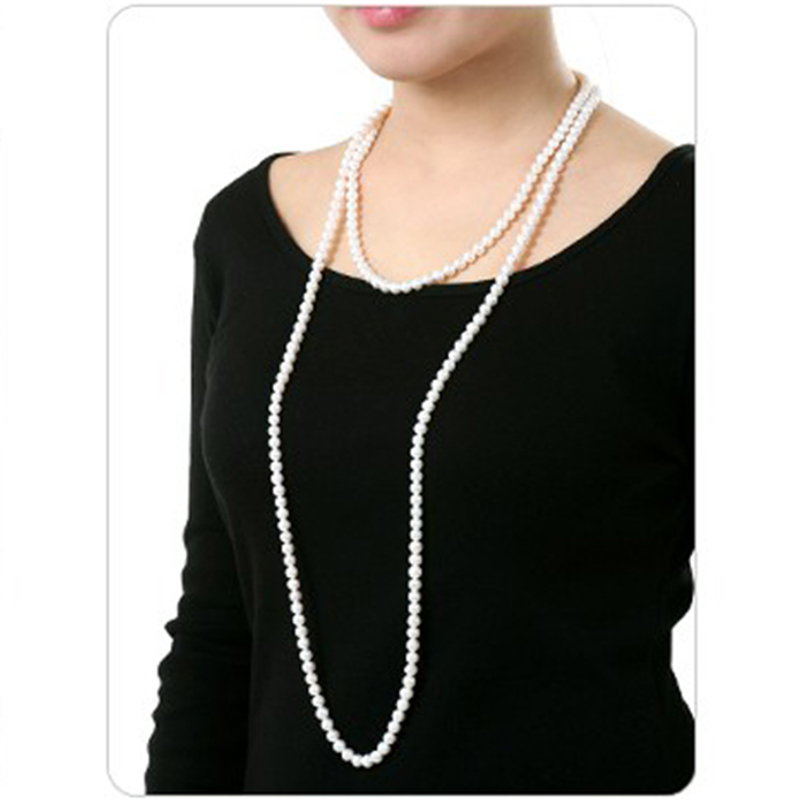 YIKALAISI 2017 New Fashion  Nearround Pearl jewelry Necklace 6-7 mm 100% Natural Pearl Long Necklace For Women Best GiftsYIKALAISI 2017 New Fashion  Nearround Pearl jewelry Necklace 6-7 mm 100% Natural Pearl Long Necklace For Women Best Gifts