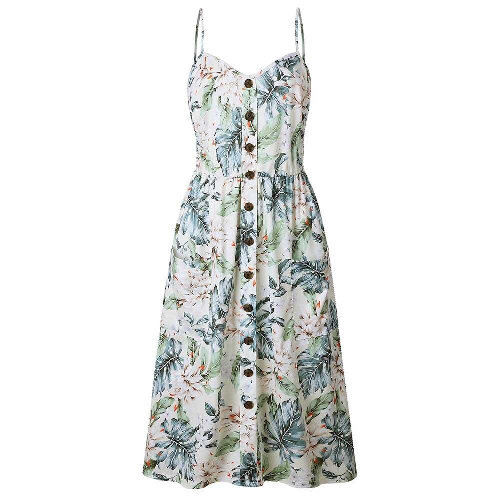 Modstreets 2018 Button Print Floral Sexy Casual Summer Strap Dress Long Boho Bohemian Beach pockets women dress Vintage Dress