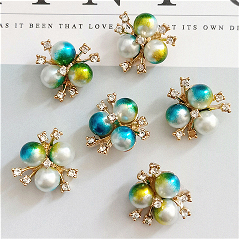 10pcs lot Alloy Rhinestone Pearl Buttons Girl Hair Wedding Invitation Card Decorative Buttons Dress Crafts Jewelry Accessories in Buttons from Home Garden