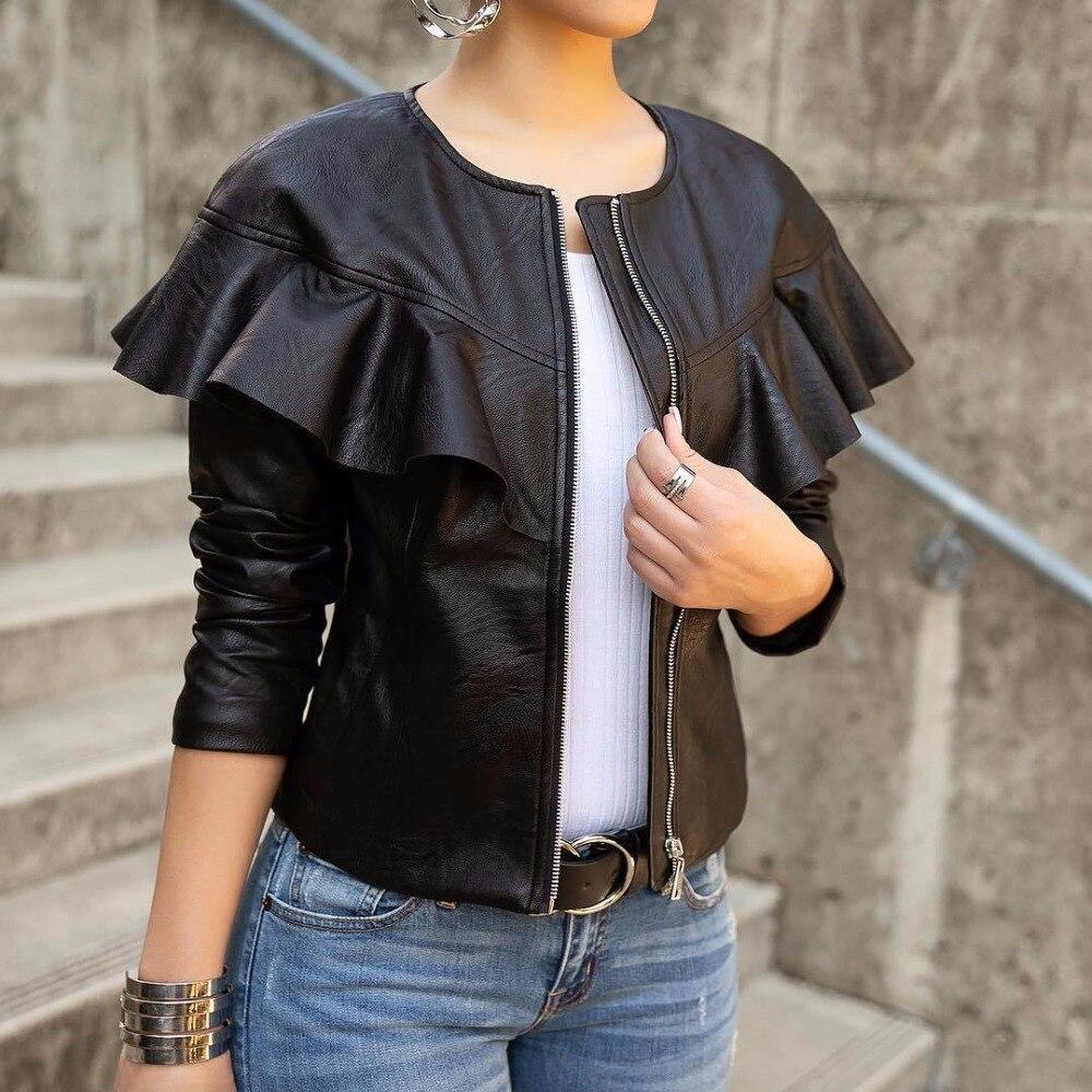 Mode Streetwear noir PU Patchwork Zipper veste régulière printemps hiver femme O cou à manches longues volants manteau court J1640
