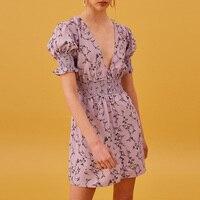 Prairie Chic Flower Print Dress Women 2019 Summer V Neck Elastic Waist Lavender Chiffon Dress Laides Boho Holiday Dress Robes