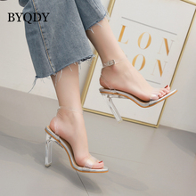 BYQDY Fashion Office Lady Summer Transparent Sandals Crystal Square With A Buckle Party Sexy Open Toe High Heel Shoes