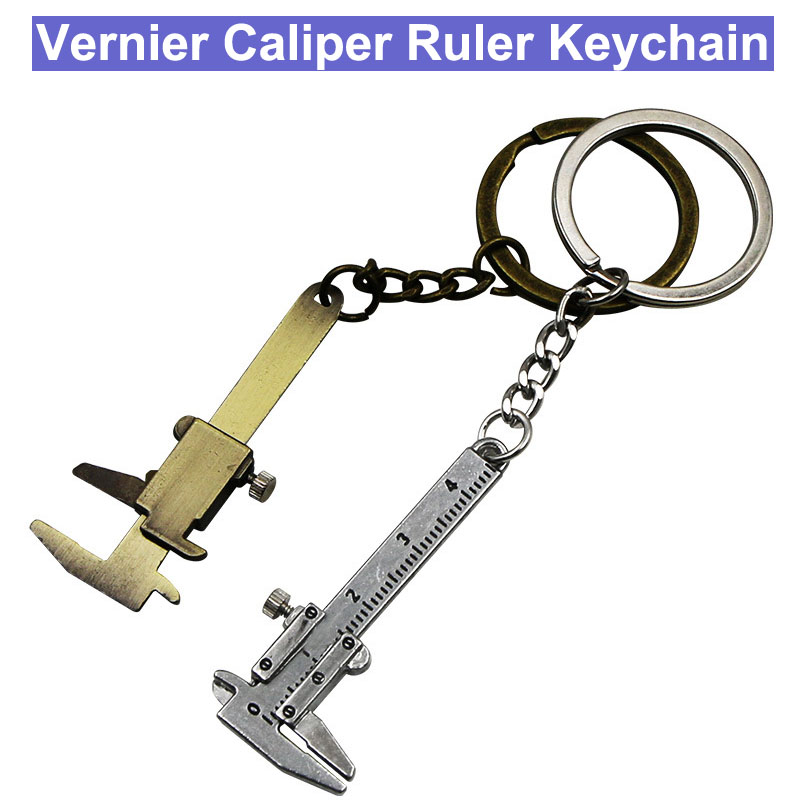 1pcs Metal Movable Vernier Caliper Ruler Model Keychain Mini Vernier Caliper Keychain Car Turbo Key Chain Gauge Tool