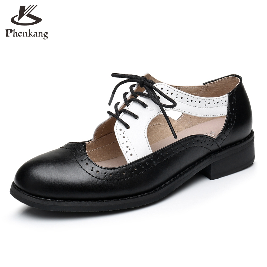 Womens sandals in size 11 - Genuine Leather Big Woman Us Size 11 Designer Vintage Flat Shoes Sandals Handmade Black White 2017 Oxford Shoes For Women
