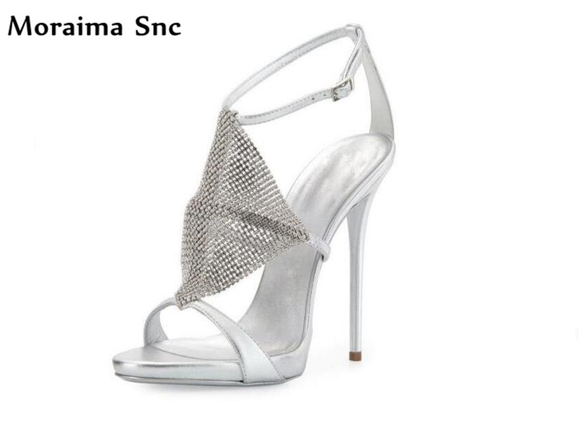 Moraima Snc 2018 newest sexy women sandals narrow band thin high heels open toe crystal platform Ankle strap buckle sandals moraima snc newest sexy women black string bead concise type sandals open toe thin high heel ankle strap hook solid party shoes