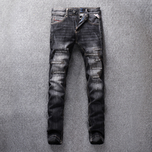 Fashion Streetwear Men Jeans Black Gray Color Destroyed Ripped Jeans For Men Embroidery Patch Design Denim Pants Classical Jeans newsosoo fashion men streetwear ripped jeans pants personality distressed patch denim trousers multi zippers patterns embroidery