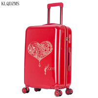 KLQDZMS Lovely luggage 20/24inch PC travel suitcase bags on universal wheels red PC rolling luggage spinner for women