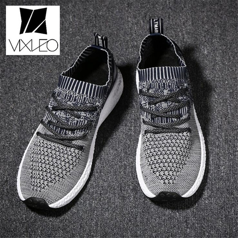 VIXLEO New Men Breathable shoes Casual Shoes man Lace up Fashion brand Mesh Spring Summer shoes Flats Solid Men