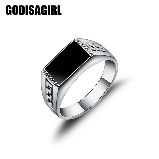 New Good Quality White Gold Color Jewelry Male Ring Fashion Square Black Enamel