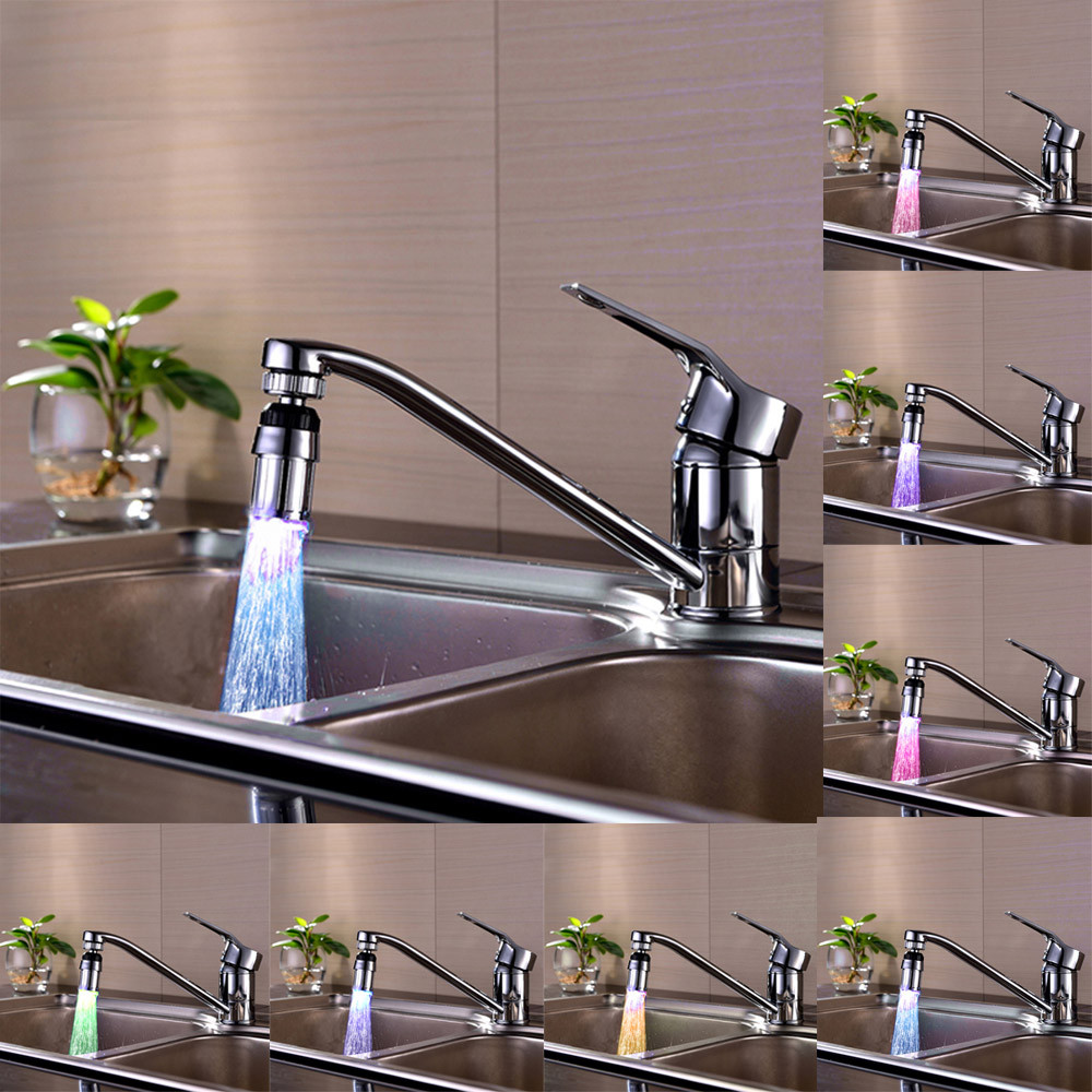 2019 New 1pc 24*58mm Kitchen Sink 7Color Change Water Glow Water Stream Shower LED Faucet Taps Light Levert Decor#20