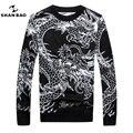 ШАН БАО бренд мужская одежда шерстяной свитер Китайском стиле дракона шаблон жаккардовые толстые теплые зимой свитер шею 9802