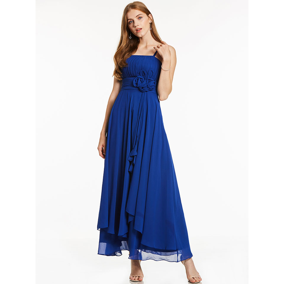 Dressv Royal Blue Long Evening Dress Cheap Spaghetti Straps Flower Ruched Wedding Party Formal Dress A Line Evening Dresses