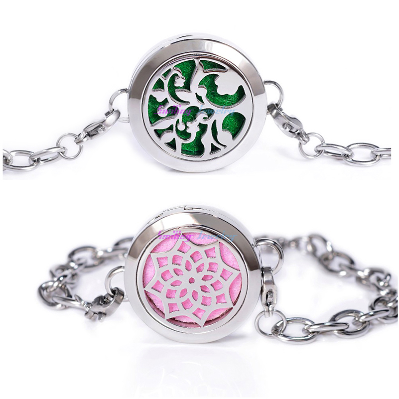 100% Real Stainless Steel Bracelets Dream Catcher Tree Yoga Aromatherapy Essential Oil Diffuser Locket Charm Men Bracelet Women