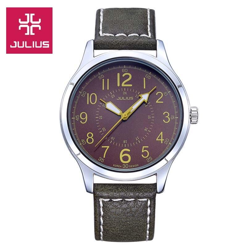 New Julius Men's Homme Wrist Watch Auto Date Big Fashion Hours Dress Retro Leather Student Boy Birthday Valentine Gift JA-835