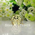 Personalized Monogram Bracelet Gold Custom Monogrammed Name Stereoscopic 1.25 Inch Hand painted 3 Initials Bracelet