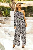 2019 Summer Fashion Women Wide Leg Rompers Loose Print Boho Jumpsuit One Shoulder Long Pants Jumpsuit