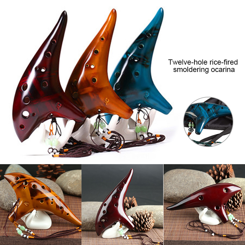 Hot 12 Holes Ceramic Ocarina Flute Alto Smoked Ocarina Submarine Style Musical Instrument Music Lover Beginner Instrument